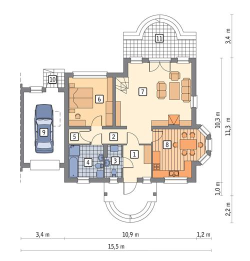 Rzut parteru POW. 102,7 m²