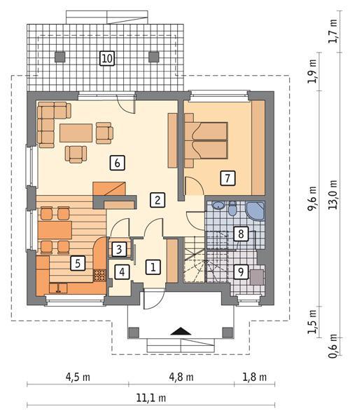 Rzut parteru POW. 80,0 m²