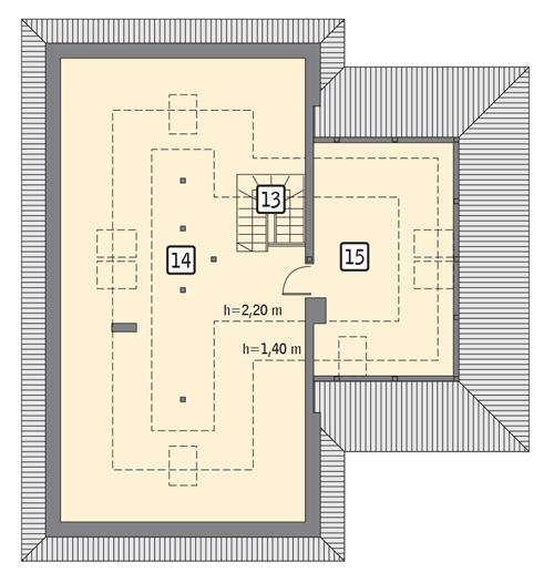Rzut poddasza: II etap realizacji - do indywidualnej aranżacji (53,6 m2 powierzchni użytkowej)