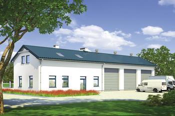 Budynek garażowo-magazynowy z częścią pomocniczą i poddaszem gospodarczym