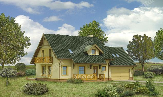 Projekt domu:  Murator C110a   – Dom za rogiem - wariant I